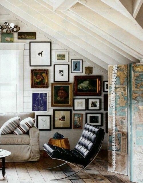 Gallery wall + barcelona chair.: Interior, Idea, Barcelona Chair, Living Room, Space, Gallery Wall, Art Wall