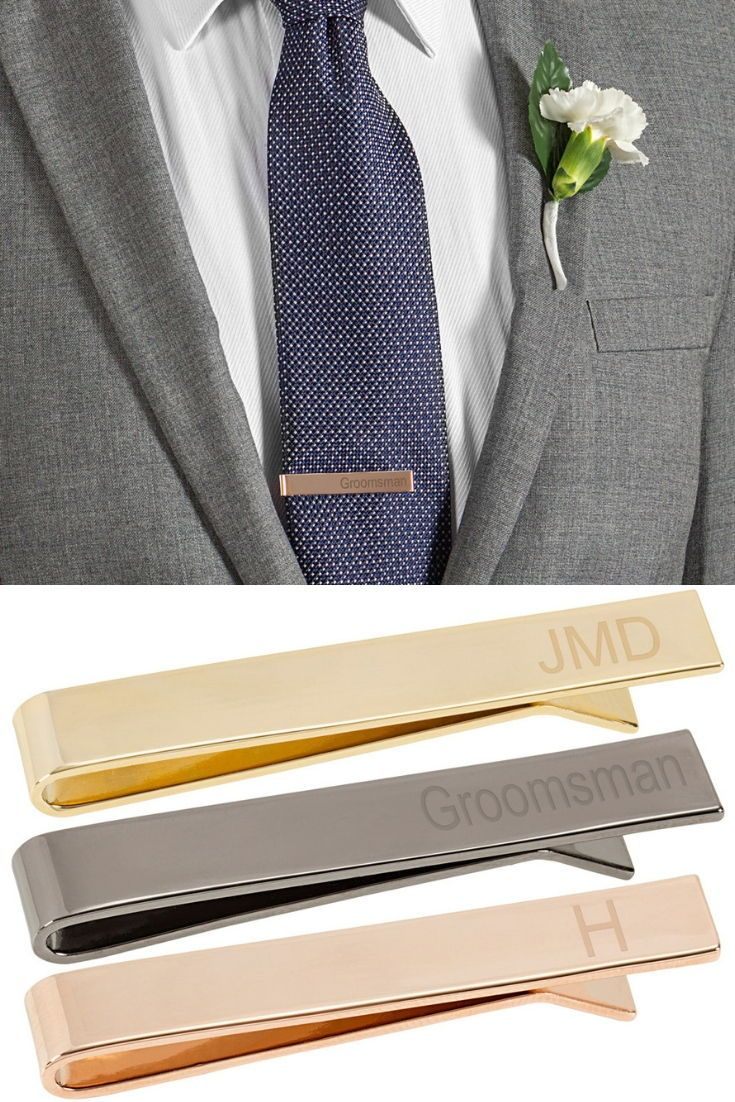 Personalized Men's Classic Slide On Tie Clips | Tie clip wedding,  Personalized tie clip, Personalized tie