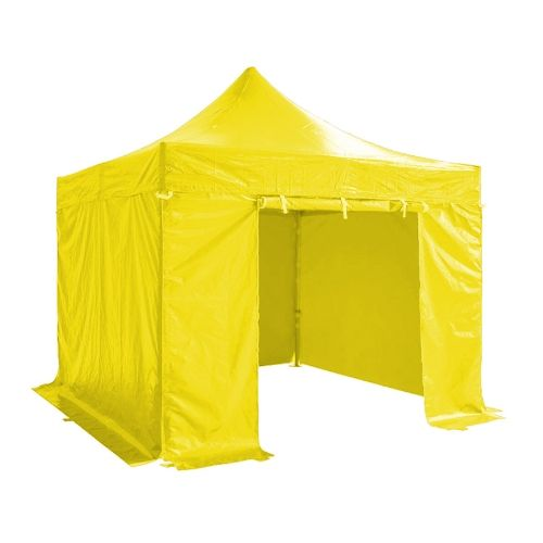 Folding Tent PRO Series 50mm Aluminium Structure + 4 Sides PVC 520g/m2 Tarpaulin 3x3m for Professional Needs or Daily Use Yellow
