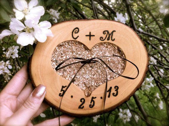 Rustic wedding ring bearer pillow holder wooden door MomoRadRose, $31.00