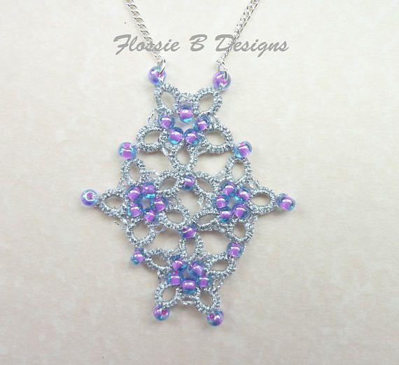Silver and pink tatted flower necklace boho jewellery