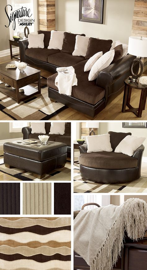 Sectionals living room furniture brown and cream white - Black brown and white living room ...