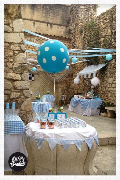 Blog My Little Party - Ideas e Inspiración para Fiestas: Vuestras Fiestas. Globo gigante azul de lunares. www.mylittleparty.es
