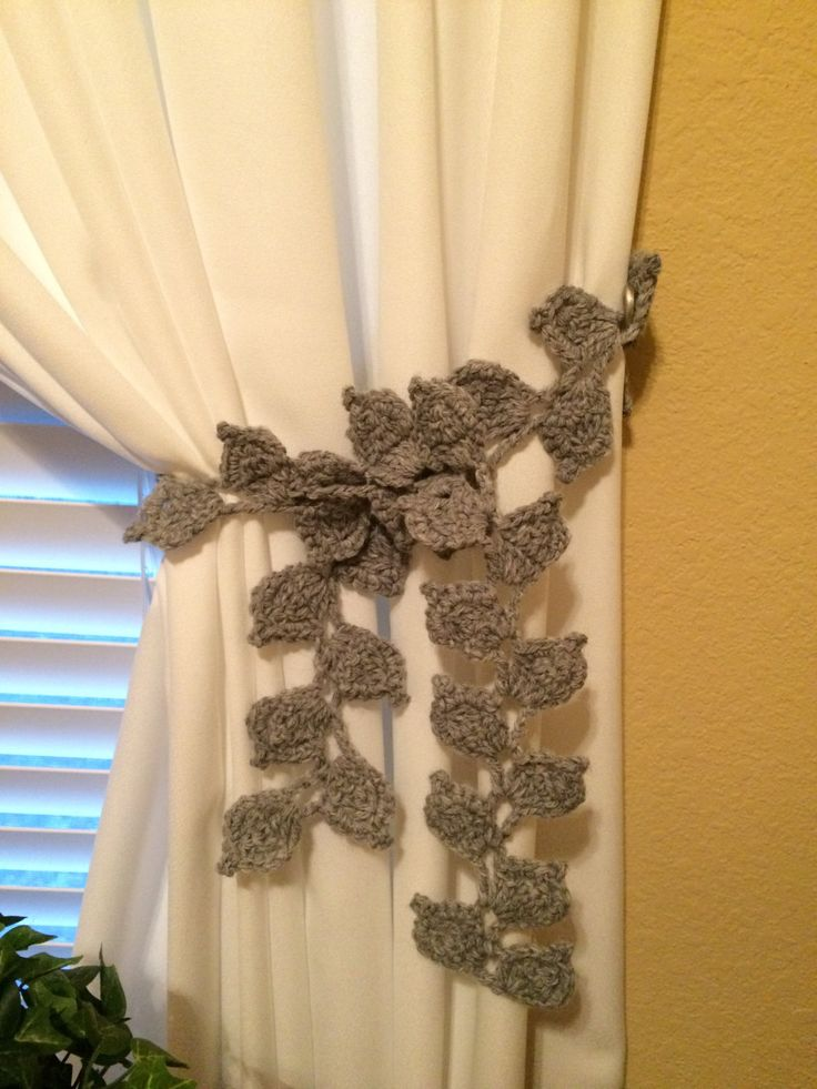 JCrochet Leaf Curtain Tieback - 1 pair, gray by JinesCrafts on Etsy