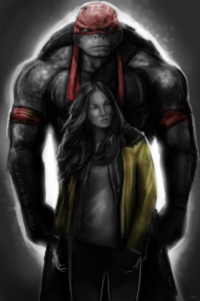 Raph and April - Totally reminds me of the Hulk and his girl, or Belle and Beast.