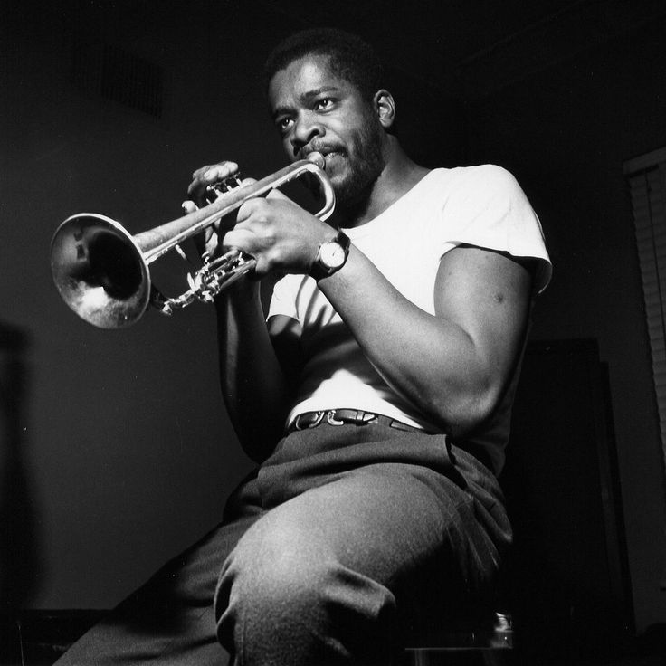 Donald Byrd during the recording of his LP Off to the Races, December 21, 1958 (photo by Francis Wolff) Bonus! Another photo of Donald Byrd with Jackie McLean from the same session…
