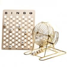 "Large Brass Bingo Cage Set w/Detachable Handle; Includes Cage, bingo balls, and master board; Stands 15.75"" H; Light-weight and compact"