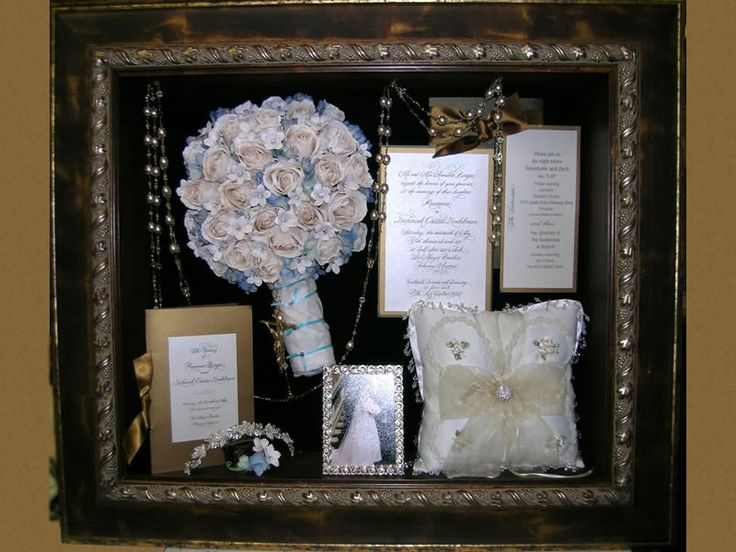 Shadow Box idea = put wedding jewelry in with bouquet