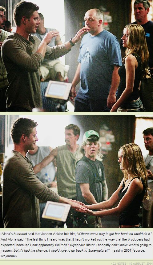 On the set of Everybody Loves A Clown. #Jensen #Alona Tal.  I wish she could have come back too.