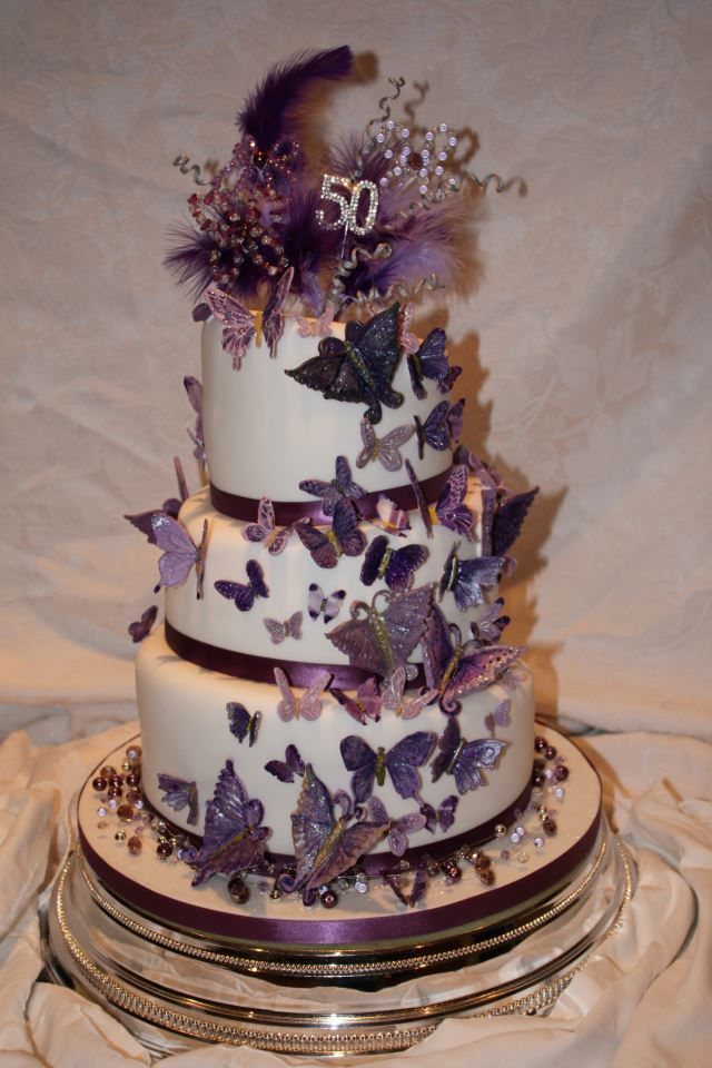 Three Tier Wonky Cake With Purple Butterflies Sweet 16