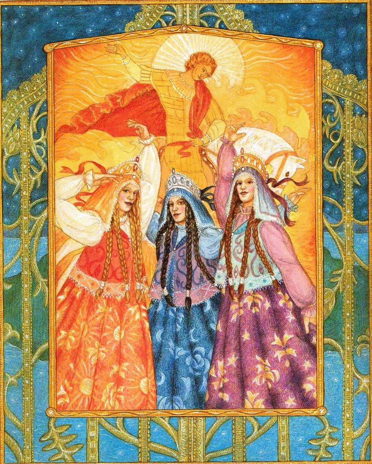 Goddess Tarot by Kris Waldherr, The Sun (The Zorya Goddesses)