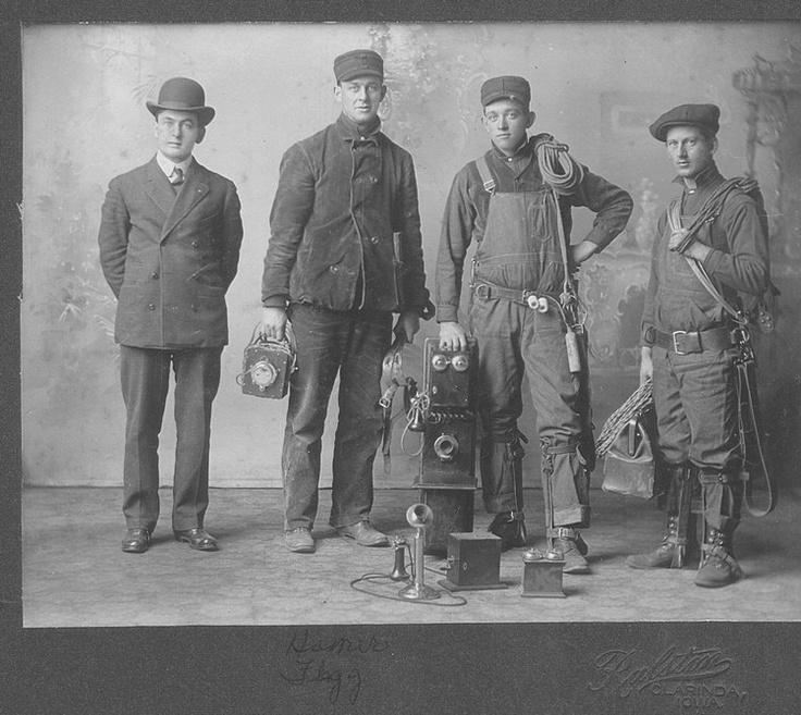 Page County, Iowa: Clarinda telephone linemen ca 1906