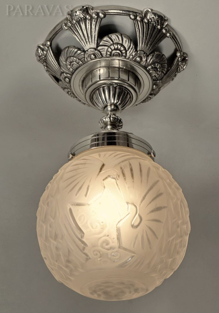 PETITOT & MULLER : French 1930 art deco ceiling fixture in nickeled bronze and moulded-pressed glass. (paravas-ebay)