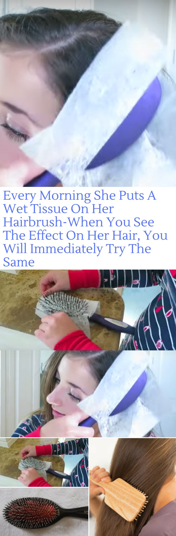 Every Morning She Puts A Wet Tissue On Her Hairbrush-When You See The Effect On Her Hair You Will Immediately Try The Same! (Video)