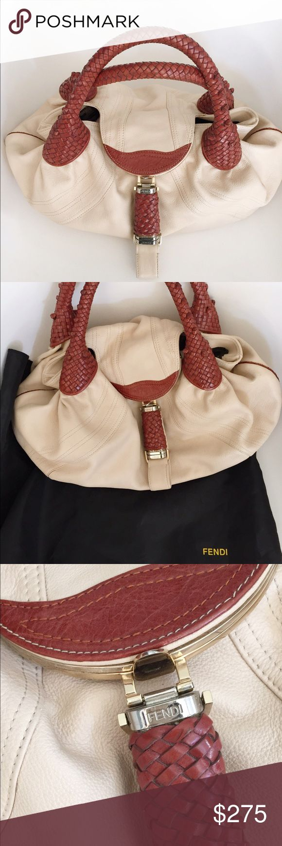 Fendi Spy Bag Beautiful cream colored fendi spy bag with cognac colored leather handles and detail. Fendi Bags Shoulder Bags