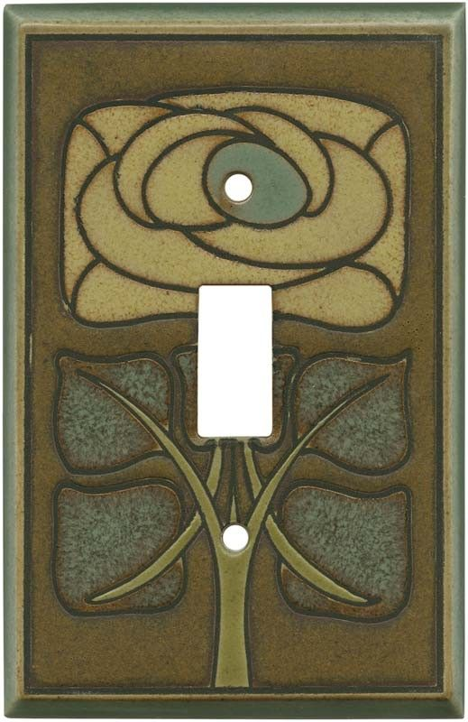 Art Nouveau Flower Ceramic All Fired Up Switch Plate Covers Outlet Wallplates