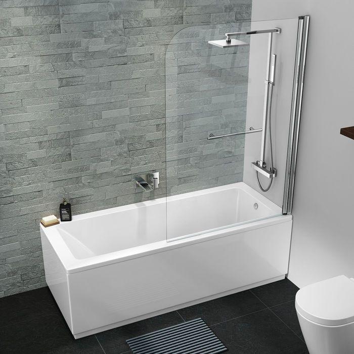 1700mm Straight Bath Large Screen Rail Square Design