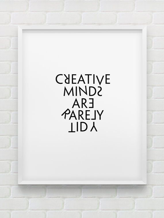 printable 'creative minds are rarely tidy' wall art // instant download print // black and white office decor // modern creativity print