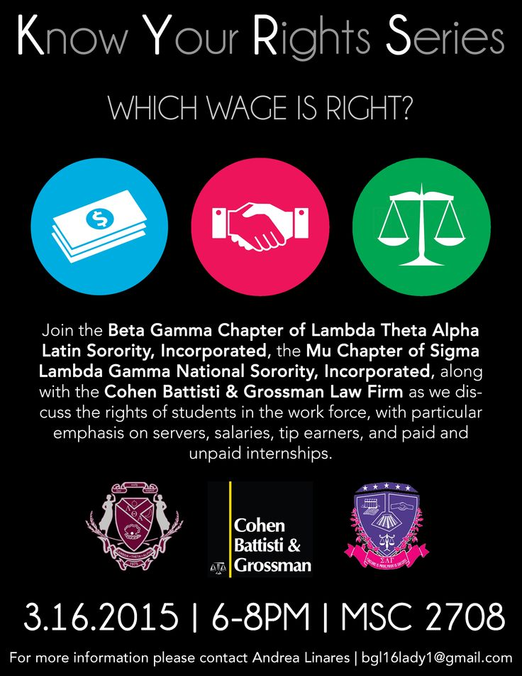 Cohen Battisti & Grossman will present at ‪#‎USF‬ at the Know Your Rights Legal Series hosted by two wonderful sororities ‪#‎LambdaThetaAlpa‬ & ‪#‎SigmaLambdaGamma‬. Please join us on March 16, 2015 at 6pm in the Marshall Center. Cohen Battisti & Grossman, It's About Justice! ‪#‎KYRS‬ ‪#‎LTA‬ ‪#‎SLG‬ ‪#‎PaidInternships‬ ‪#‎WageRights‬ ‪#‎GoBulls‬ ‪#‎ItsOKUCFWeWillVisitYouToo‬