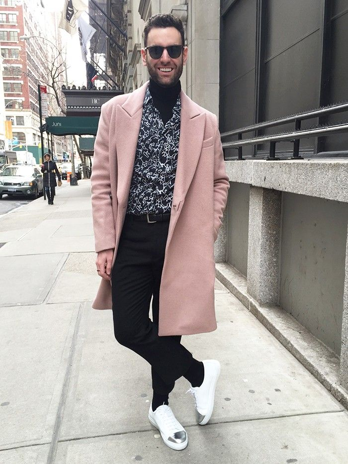 Fashion Editor Adds A Pink Coat To His Winter Outfit