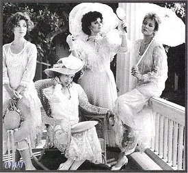 Classic description of women in the Old South:  'Yesterday, in my mind's eye, I saw four women standing on a veranda in white, gauzy dresses and straw-colored hats. They were sweet-smelling, coy, cunning, voluptuous, voracious, delicious, pernicious, vexing and sexing…
