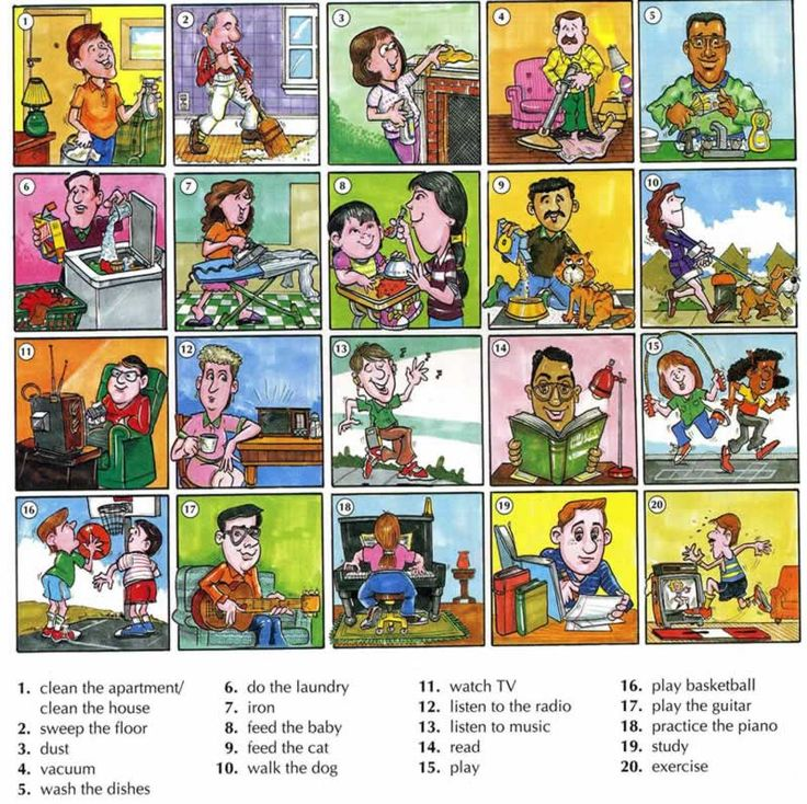 Everyday activities with pictures part 2. Learn the vocabulary and also how to ask questions and answer them