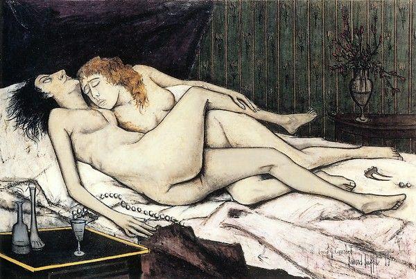 Le sommeil d'après Courbet, huile sur toile, 130 x 195 cm, 1955. Musée Bernard Buffet.