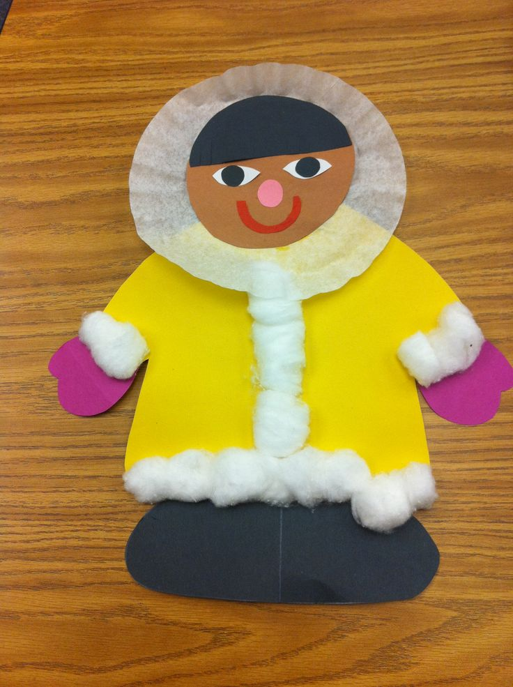 Eskimo art-coffee filter...photos of students would be cute #papercraft #winter #january