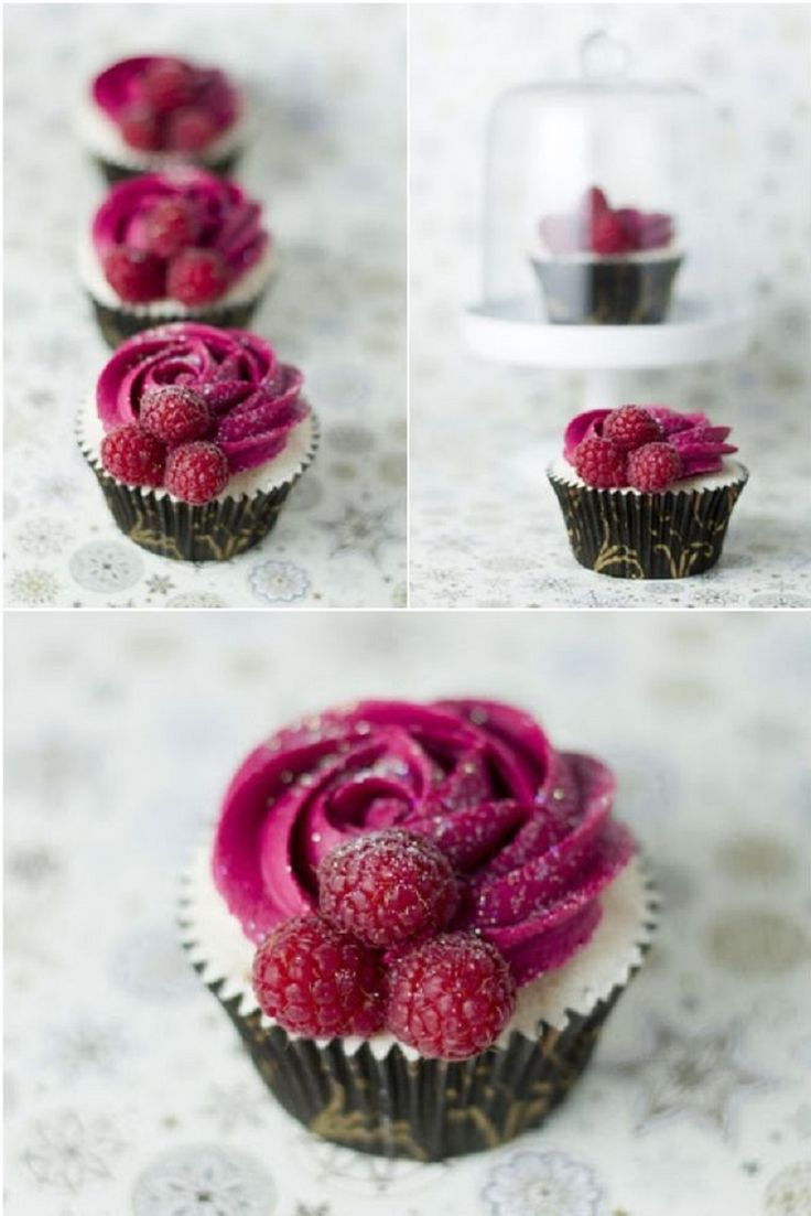 Champagne and Raspberry Cupcakes - 15 Charming Valentine's Day Cupcakes | GleamItUp