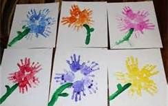 Handprint Flowers ~ This would be a neat idea for a Mother's Day craft for kids.