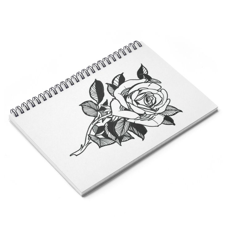 Single Rose Spiral Notebook - Ruled Line