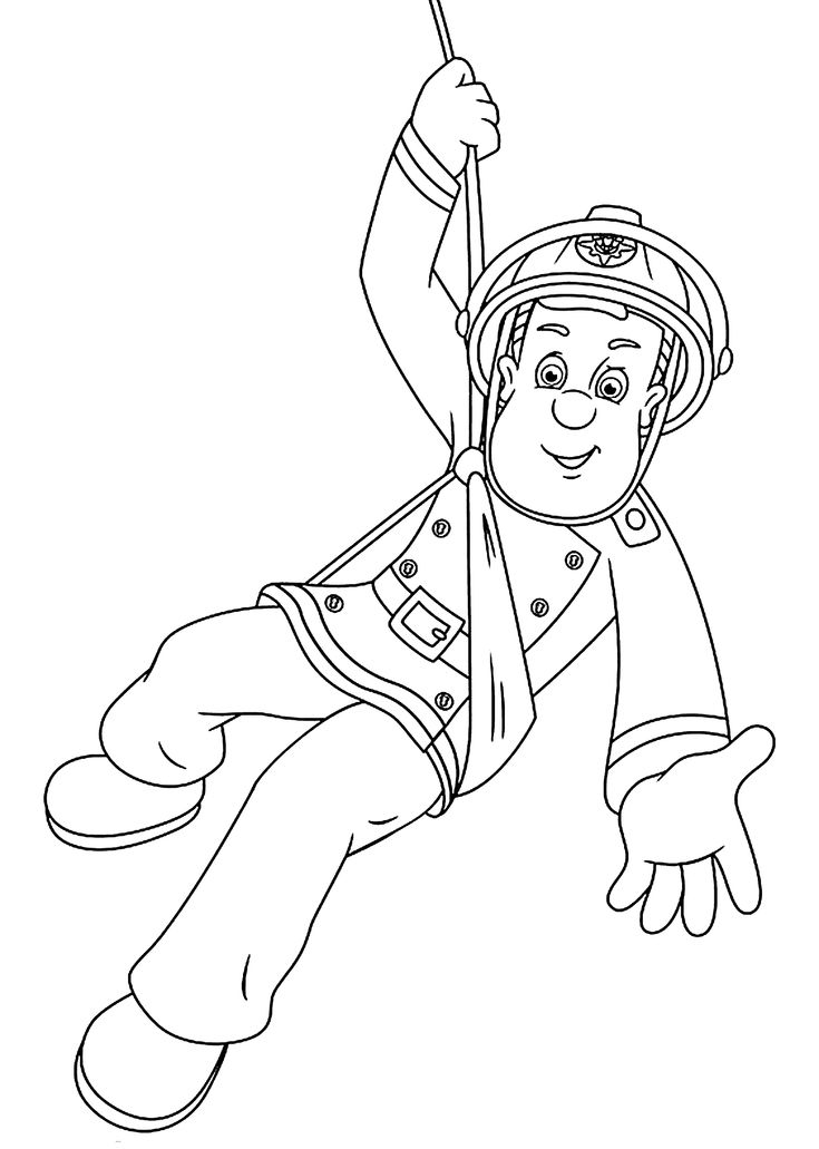 Fireman Sam Is Hero Cartoon Coloring Pages For Kids Fireman Sam Colouring Pages To Print