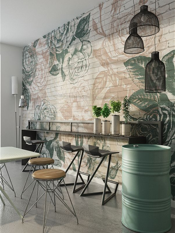 Brick Roses | Designer Murals | Accent Wallpaper | Choose your favorite design from our Accent Wallpaper Collections www.accentwall.eu #kitchenwallpaper #mural #bardesign #designerwallpaper #restaurantaccentwall