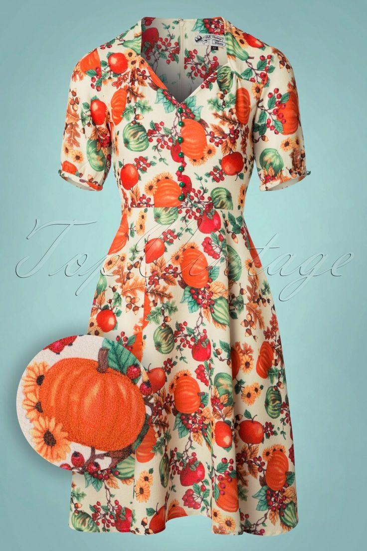 1950er Jahre Herbst Herbst Ernte Thanksgiving Swing Dress Herbst