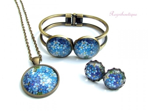 Meska :: .meska.hu :: Kék nefelejcs romantikus lánc+fülbevaló+karperec szett, garnitúra. EGYEDI