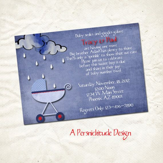second baby boy or girl sprinkle invitation print by persnickitude, $10.00