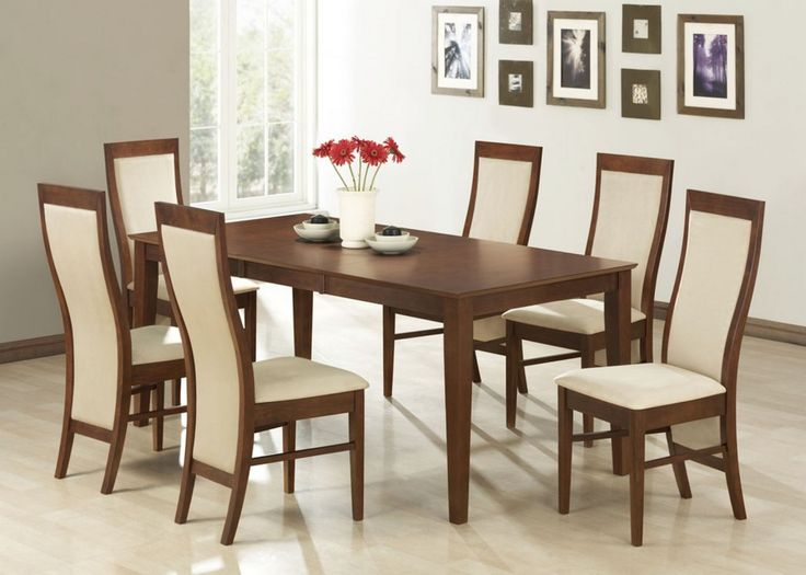 Furniture: Stylish Dining Room Furniture With Wooden And White Dining Chairs  With Artistic Curved Shaped