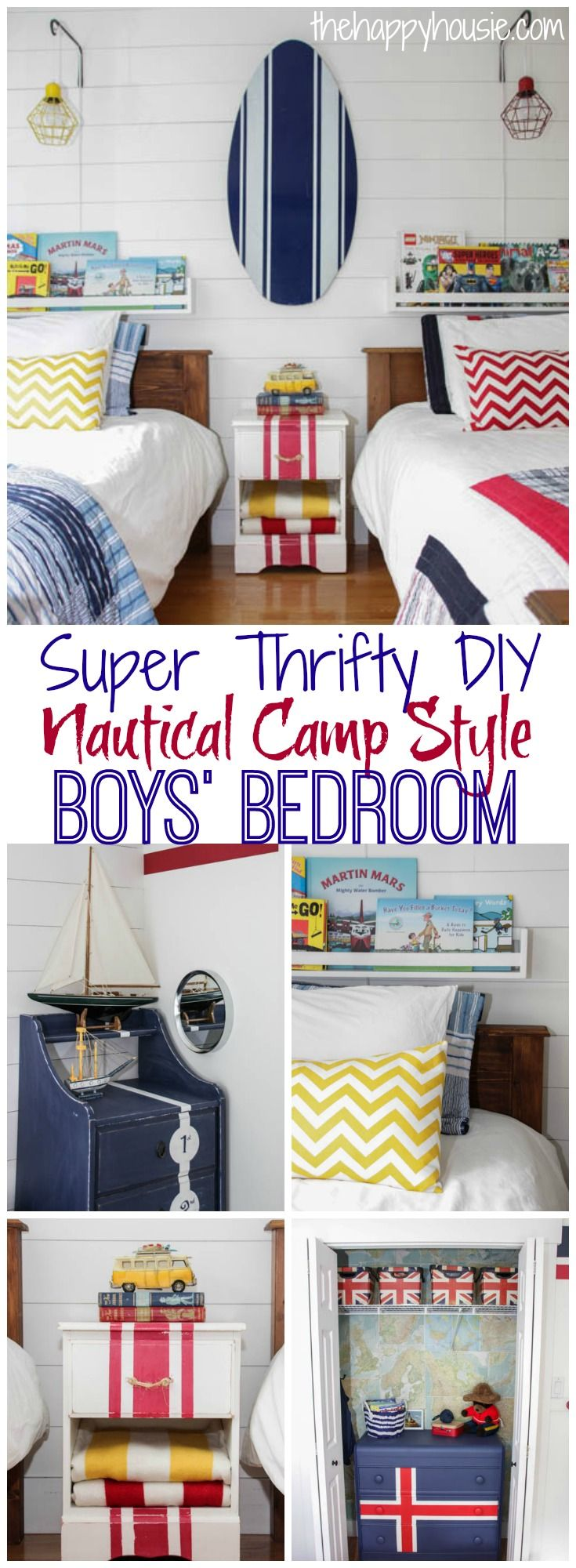 This adorable boys bedroom reveal is full of thrifty DIY ideas for creating a nautical camp style boys bedroom
