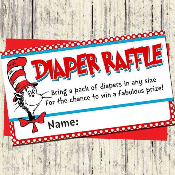 silversdesign.etsy.com - Dr. Seuss Diaper Raffle Cards - Matching Dr Seuss Baby Shower Invitation - Printable