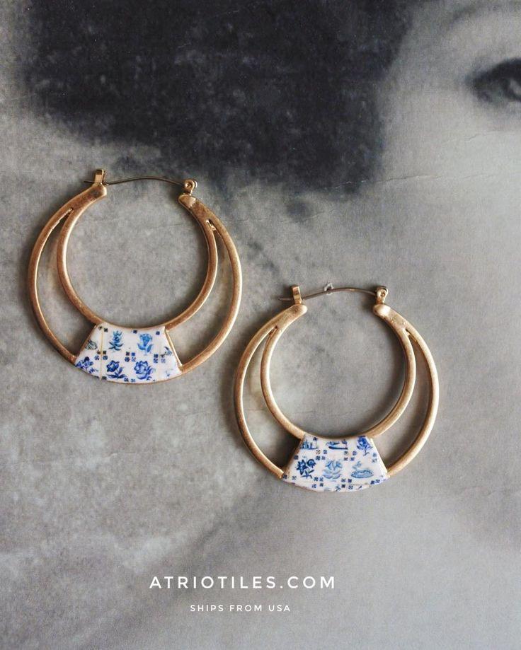 Hoops with Antique Azulejo Tiles from Past, hoop earrings
