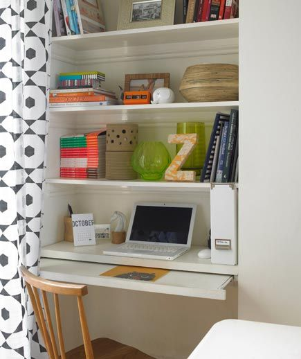 Create a desk space in an alcove or extra closet (does that exist?) Hide with a funky curtain when not in use...install an antique knob, etc. to hold back the curtain so it doesn't get in the way when sitting at the desk