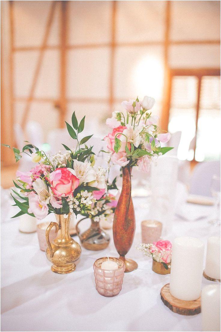 Tischblumen Hochzeit Mädchen/Cinderella, Vintage, Messing, Gold. Von Anmut und Sinn. Foto: Anija Schlichenmaier