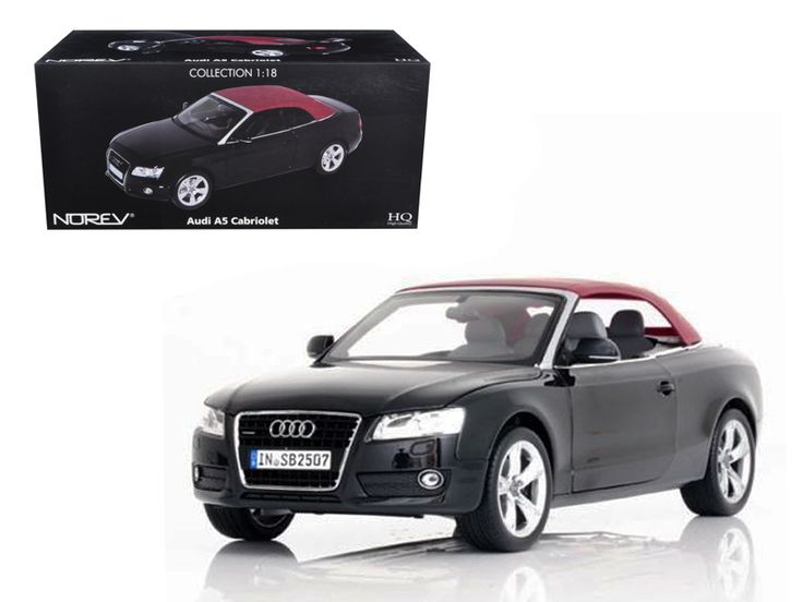 2009 Audi A5 Convertible Brilliant Black 1/18 Diecast Model Car by Norev - Brand new 1:18 scale diecast car model of 2009 Audi A5 Convertible Brilliant Black die cast car model by Norev. Brand new box. Rubber tires. Has steerable wheels. Made of diecast metal. Has opening hood, doors and trunk. Detailed interior, exterior, engine compartment. Dimensions approximately L-10.5, W-4.5, H-3.5 inches.-Weight: 4. Height: 8. Width: 15. Box Weight: 4. Box Width: 15. Box Height: 8. Box Depth: 7