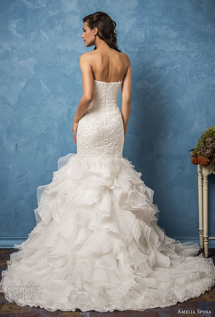 amelia sposa 2017 bridal strapless sweetheart neckline heavily embellished bodice ruffled skirt romantic princess mermaid wedding dress chapel train (martina) bv