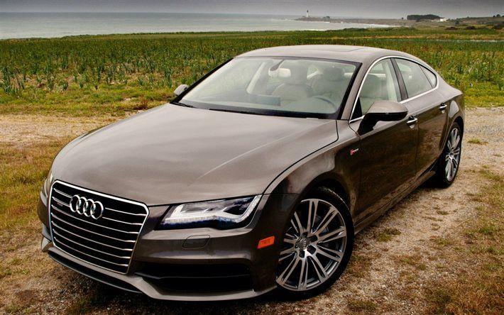Audi A7 Sportback, 2016, luxury cars, coast, brown audi