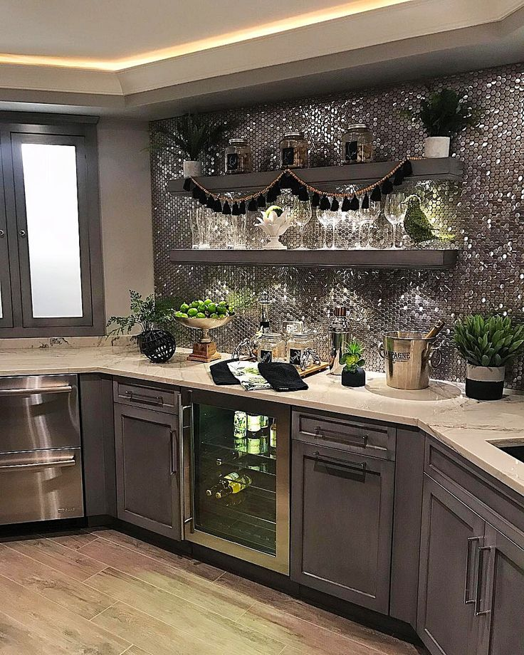 Love the gray color for island cabinets