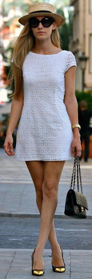 street style summer / all white dress