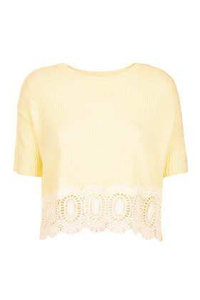 Petite Knitted Lace Hem Crop