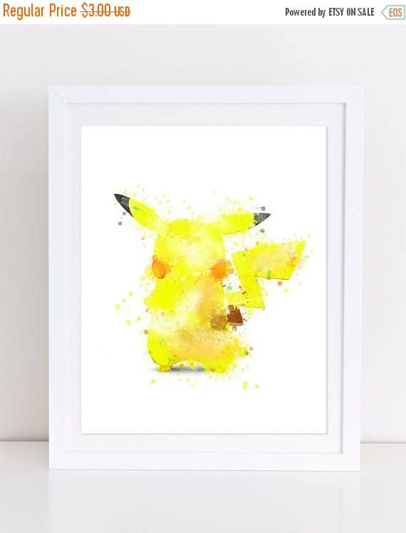 60%OFF Pikachu Watercolor Poster Pokemon Watercolor Print