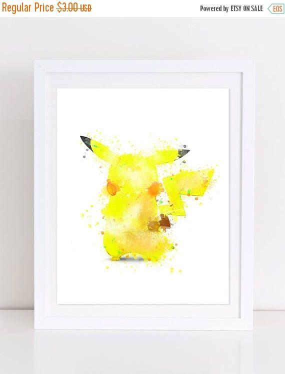 60%OFF Pikachu Watercolor Poster Pokemon Watercolor Print